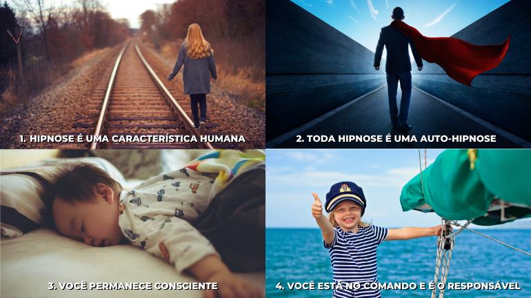 Quatro pilares da hipnose com imagens meramente ilustrativas de cada um.